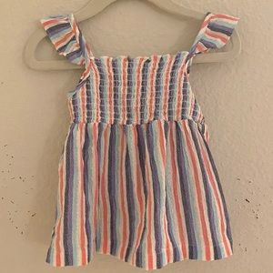 Carter's Smocked Baby Girl Striped Tank Ruffles 24